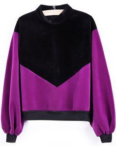 Camiseta suelta contraste negro-violeta EUR€19.67