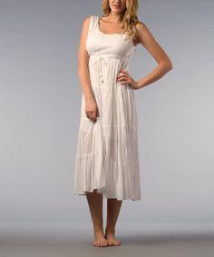 White Tiered Empire-Waist Midi Dress #beach #summer #style