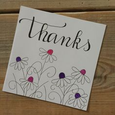 Hand written thank you note Birthday Card Drawing, Birthday Cards, Calligraphy Cards, Hand Drawn Cards, Hand Lettering Alphabet, Paint Cards, Making Greeting Cards, Types Of Lettering, Christmas Cards To Make
