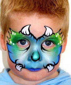 Little dragon in metallics! Dinosaur Face Painting, Monster Face Painting, Dragon Face Painting, Face Painting For Boys, Face Painting Designs, Paint Designs, Kid Painting, Balloon Painting, Belly Painting