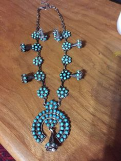 """Native American Signed Turquoise Petit Point Silver 12"""" Squash Blossom+Earrings"""