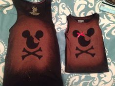 Mickey pirate shirts made with cardboard cut outs and bleach in a spray bottle.