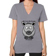 I Love My Horse Of Course Women's V-Neck T-Shirt