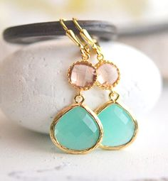 Aqua and Champagne Peach Bridesmaids Earrings in Gold. Wedding Jewelry.