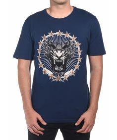 JUST CAVALLI JUST CAVALLI MEN GROWL T-SHIRT NAVY'. #justcavalli #cloth #t-shirts