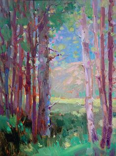 birch trees, landscape, oil painting, mary maxam art