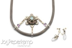 <span>Jos Peperkamp, works of art, inspired by STEAMPUNK, necklace made of, Zirconium, Titanium ,white, yellow and red Gold, Silver, 6 x Tourmaline, Amatist and blue Beryl</span><p></p>