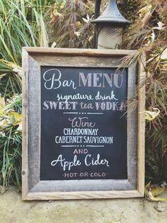 Hand-drawn chalkboard sign for wedding cocktail hour bar menu Chalkboard Wedding, Wedding Signage, Chalkboard Signs, Rustic Wedding, Plan Your Wedding, Wedding Ideas, Sweet Tea Vodka, Bar Menu, Fun Events
