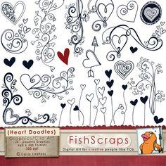 Heart Doodle Clip Art - Photoshop Brushes & Printable ClipArt - Digital Stamps - Love - Flourishes - Valentine clipart. $5.75, via Etsy.