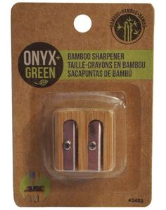 This eco-friendly 2-hole Pencil Sharpener is made from bamboo, which is the fastest growing plant on earth. It is known to produce greater biomass and 30% more oxygen than a hardwood forest of comparable size while improving watersheds, preventing erosion, restoring soil, providing sweet edible shoots for wildlife, and removing toxins from contaminated soil.