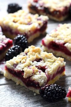 These cheery, blackberry crumb bars are a summertime favorite and make a perfect afternoon snack or simple dessert.