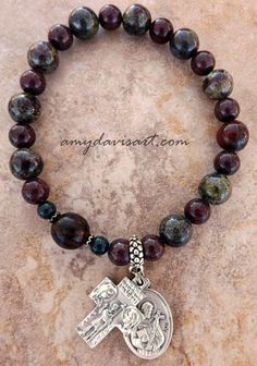 Saint Francis St Anthony Rosary Bracelet Men S One Decade Dragon Blood