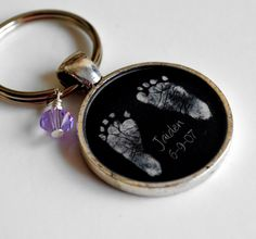 Baby's Footprints and Birthstone Keepsake Resin Pendant Keychain-via Etsy - want to buy for my husband
