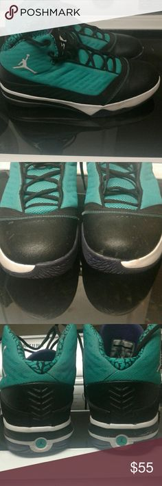 Air Jordan B'Mo men's shoes Air Jordan B'Mo men's shoes.... my son only uses them for 1 month they basically brand new no stains or tears on them.  There Turquoise and black with purple on the inside Jordan Shoes Athletic Shoes