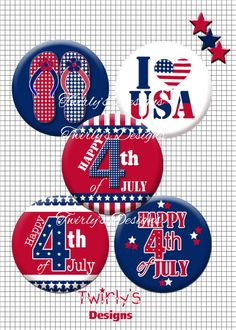 INSTANT DOWNLOAD 1 4th of July bottle cap images 3  by PatchScript