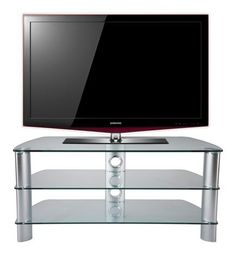 "Stil Stand Clear Glass TV Stand up to 50"" STUK2001CL.  Stil-Stand through rod designs ensures a very stable and rigid structure, which contributes to performance of both visual and audio products. The top profiles are UV bonded on the underside of the glass giving a smooth top glass surface.  The aluminium legs enhance the stands whether Silver or Black to match the equipment.  Total weight load 135Kg  (Top 85kg, Middle and Bottom 25kg each).  Dimensions: 1075x455x495 (wxdxh)   STUK2001CL."