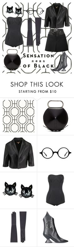 """""""paint it black"""" by secretstylistrome ❤ liked on Polyvore featuring Vision, 3.1 Phillip Lim, Muse, Betsey Johnson, Dorateymur, Helmut Lang and allblackoutfit"""
