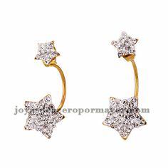 aretes de estrella brillantes en acero dorado inoxidable -SSEGG384277