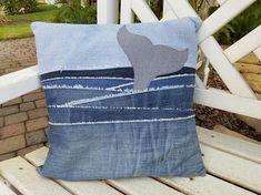 Denim pillow - Upcycled Denim throw pillow cover, whale tail in water, 16 square with – Denim pillow Diy Pillow Covers, Diy Pillows, Decorative Pillow Covers, Throw Pillows, Cushion Covers, Water Pillow, Denim Scraps, Jean Crafts, Denim Ideas