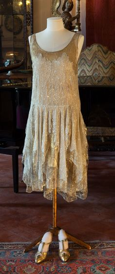 Evening dress, Callot Soeurs, summer 1929. Sequined net with a gold-colored silk slip. Worn by Hortense Acton. Acton Collection, Villa Pietra, Florence (NYU)