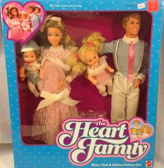 The Heart Family! These were just like Barbie, just darker hair. I preferred them for that reason! Mama Heart even had a baby, complete with baby bump! All our Barbie/Heart stuff was sold by my sis in the late 80s.