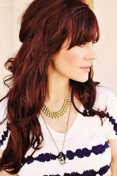 """Auburn hair color is a variation of red hair color but is more brownish in shade. Just like the ombre,Read More Flattering Auburn Hair Color Ideas"""" Hairstyles With Bangs, Pretty Hairstyles, 2014 Hairstyles, Long Haircuts, Redhead Hairstyles, Medium Hairstyles, Hairstyle Ideas, Layered Hairstyle, Style Hairstyle"""