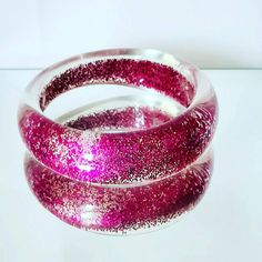 Excited to share this item from my #etsy shop: Vintage glitter Hot Pink Lucite Bangle, Chunky Statement Bangle, Disco Funky Bangle.