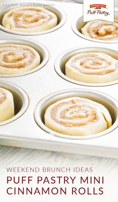 Let Pepperidge Farm® Puff Pastry Sheets add a delicious twist to your weekend brunch menu. These Puff Pastry Mini Cinnamon Rolls from Katherine, of Lily the Wandering Gypsy, are a bite-sized burst of Sweet Puff Pastry Recipes, Sweet Pastries, Sweet Recipes, Pastries Recipes, Desserts With Puff Pastry, Easy Pastry Recipes, Puff Pastries, Recipe For Puff Pastry, Butter Puff Pastry