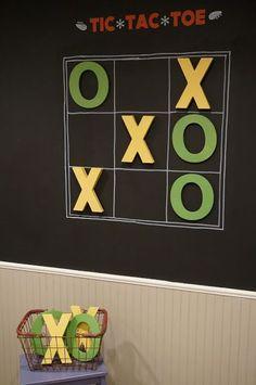 Interactive Playroom Wall {Five Foot Twelve Creations} – Boy Room 2020 Playroom Paint, Playroom Decor, Teen Playroom, Boys Playroom Ideas, Teen Game Rooms, Gameroom Ideas, Toddler Playroom, Wall Game, Tic Tac Toe Game