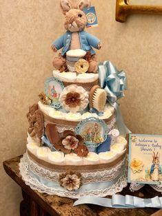 4 Tier, Peter Rabbit Diaper Cake, Gender Neutral Diaper Cake, Diaper Cake Centerpiece, Shabby Chic D Baby Shower Diapers, Baby Boy Shower, Baby Shower Gifts, Baby Gifts, Peter Rabbit, Diaper Cake Boy, Cake Baby, Diaper Cakes For Boys, Diaper Cake Instructions