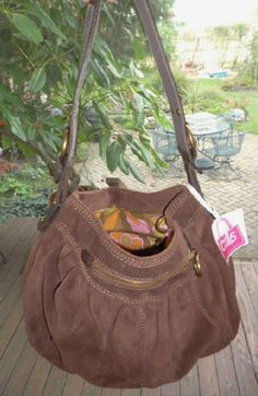 LUCKY BRAND Brown Suede Leather Hobo Boho Tote Carryall Purse Bag Handbag Purse…