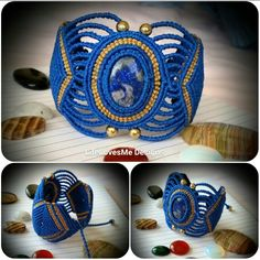 LifeLovesMe micro macrame creations. Large cuff bracelet with lapis lazuli & brass beads. Approx 8hrs to create . Made in Coolum Beach, Australia. AUD99