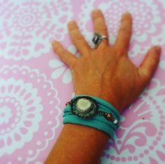 #Boho #beaded #resin #bottlecap #bracelet #fabric