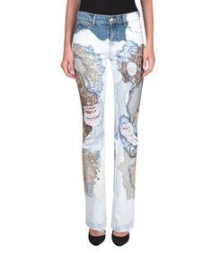 AMEN Jeans flared denim di cotone con pizzo e ricamo. #amen #cloth #ricamo