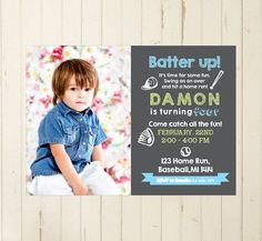 Baseball invitation Chalkboard invitation boy birthday baseball themed party por RebeccaDesigns22, $11.99