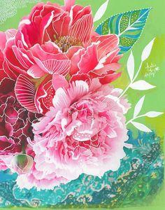 Peonies Art Print Mixed Media Painting Floral Photograph - white ink on a photo Mixed Media Artwork, Mixed Media Painting, Art Floral, Illustration Blume, Daisy Art, Peony Print, Acrylic Artwork, Still Life Art, Mixing Prints