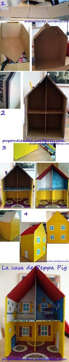 """Casa de la Peppa Pig en cartón. <a href=""""http://puponelandia.com"""" rel=""""nofollow"""" target=""""_blank"""">puponelandia.com</a>"""