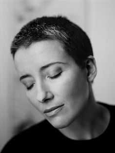 Emma Thompson with cropped hair.