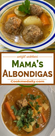 "Mama's Old-Fashioned Albondigas (Meatball Soup) Prepare time: 20 minCook: 2 hr 30 minReady in: 2 hr 50 min ""This is my number-one soup recipe, perfect for a cold rainy day, handed down to me by my mother. I hope you all enjoy it as much as my family has. Whole30 Soup Recipes, Chicken Soup Recipes, Healthy Soup Recipes, Mexican Food Recipes, Vegan Recipes, Albondigas Soup Recipe Mexican, Mexican Meatball Soup, Soup And Sandwich, Soup And Salad"