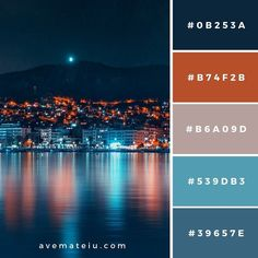 City Buildings Near Body of Water Color Palette – Ave Mateiu Color Schemes Colour Palettes, Colour Pallette, Color Palate, Color Combos, Sunset Color Palette, Room Color Design, Design Seeds, Color Swatches, Color Theory