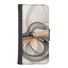 Abstract Anthracite Gray Sienna Shapes Fractal Art iPhone SE/5/5s Wallet Case