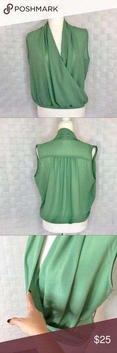 Very J Green Blouse Green blouse that crosses over in the front. Size medium. Very J Tops Blouses