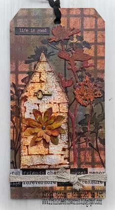 MDF Tag with Tim Holtz Wildflower stamps and dies, distress crazing medium and distress crayons. By Nikki Acton - Addicted to Art.