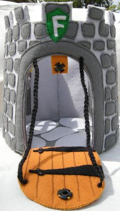 Wool Felt Castle - snaps in the back so that it opens up