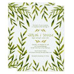 Watercolor Leaves, Wedding Invitations