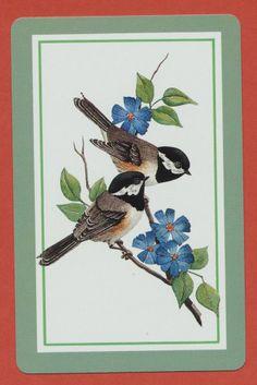 chickadee birds playing card single swap ace of spades - 1 card