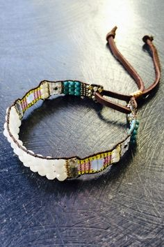 Nina Dillof bracelet comprised of white jade, chalcedony, turquoise,  vintage and contemporary beads