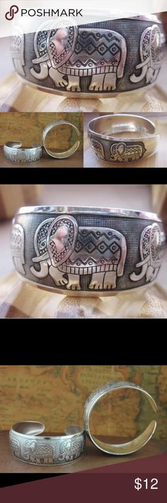 Engraved Elephants Bangle Bracelet Tibet Silver This engraved open Cuff bracelet is so comfortable and stylish. Elephants are engraved in the Tibet silver. Buy one or many. Stack them for extra flatter. Coordinate with existing pieces. Retails for $20 Crowned In Royalty Jewelry Bracelets