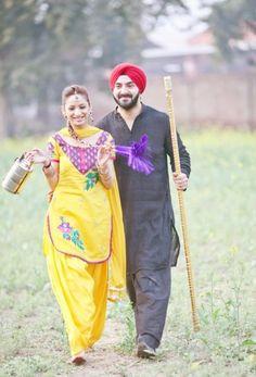 Gabru and Mutiyaar Punjabi Wedding Couple, Punjabi Couple, Punjabi Bride, Sikh Wedding, Wedding Couple Poses Photography, Girl Photography Poses, Pre Wedding Photoshoot, Wedding Shoot, Photoshoot Ideas