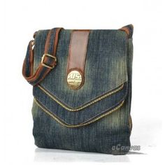 Recycled denim bag, blue mini messenger bag - E-CanvasBags